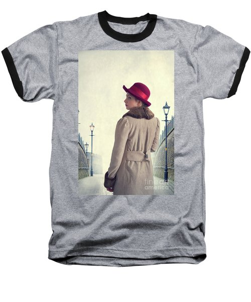 Historical Woman In An Overcoat And Red Hat Baseball T-Shirt by Lee Avison