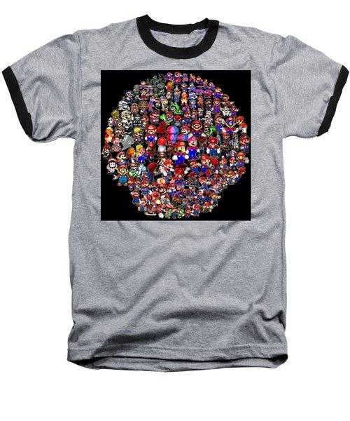 History Of Mario Mosaic Baseball T-Shirt