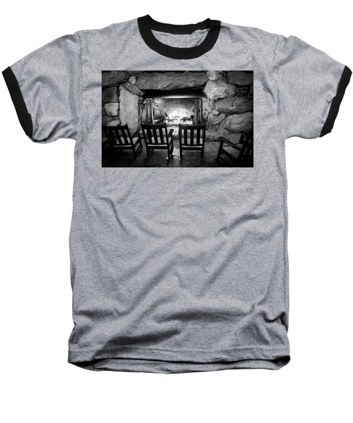 Winter Warmth In Black And White Baseball T-Shirt by Karen Wiles
