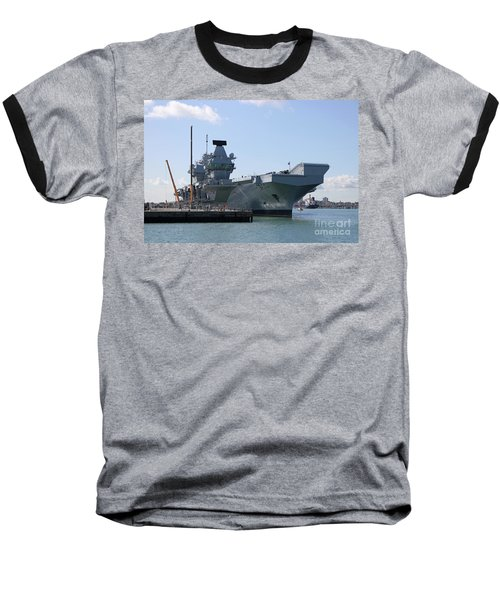 Hms Queen Elizabeth Aircraft Carrier At Portmouth Harbour Baseball T-Shirt