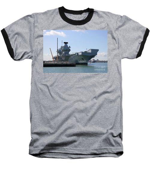 Hms Queen Elizabeth Aircraft Carrier At Portmouth Harbour Baseball T-Shirt