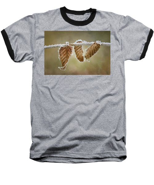 Baseball T-Shirt featuring the photograph Hoar Frost - Leaves by Nikolyn McDonald