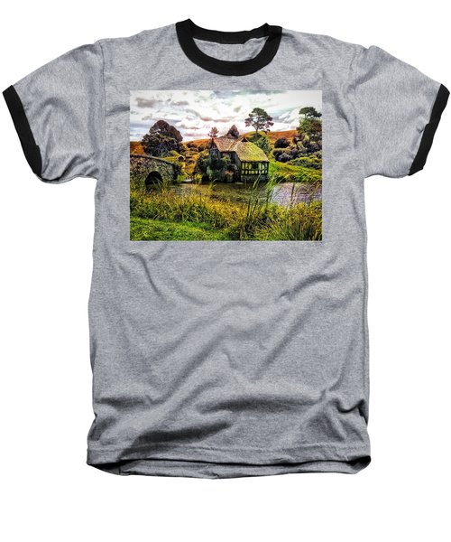 Baseball T-Shirt featuring the photograph Hobbiton Mill And Bridge by Kathy Kelly