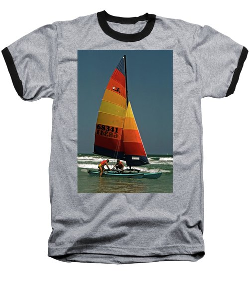 Hobie Cat In Surf Baseball T-Shirt by Sally Weigand