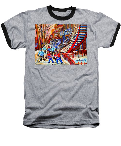 Hockey Game Near The Red Staircase Baseball T-Shirt