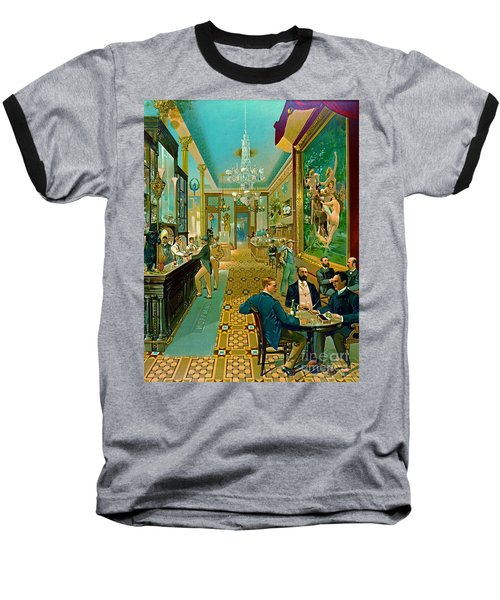 Hoffman House Bar 1890 Baseball T-Shirt by Padre Art