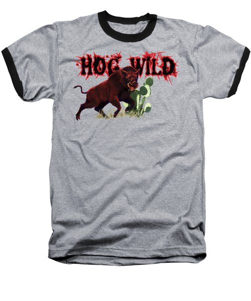 Hog Wild Tee Baseball T-Shirt by Rob Corsetti