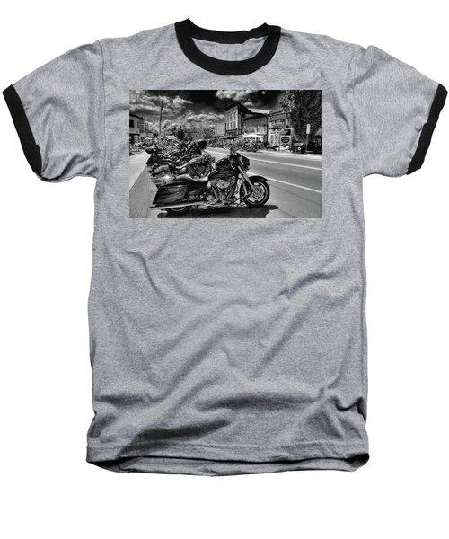 Hogs On Main Street Baseball T-Shirt by David Patterson