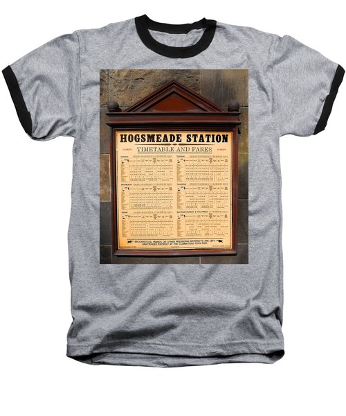 Baseball T-Shirt featuring the photograph Hogsmeade Station Timetable by Juergen Weiss