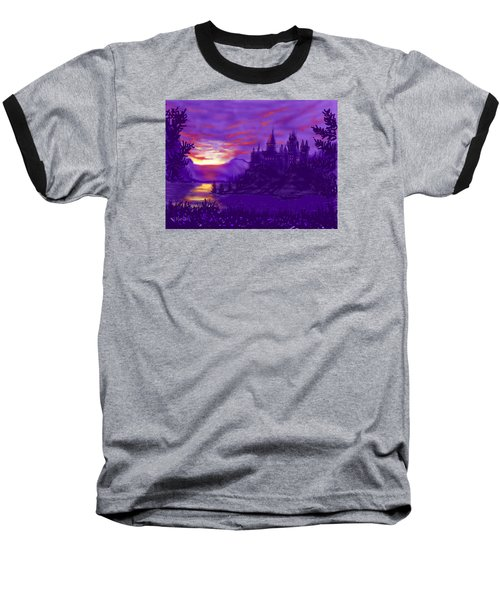 Hogwarts In Purple Baseball T-Shirt