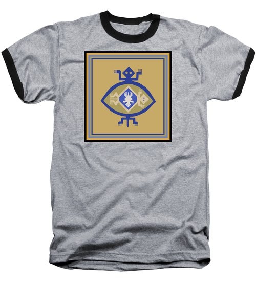 Hohokam Mimbres Turtle Family Baseball T-Shirt by Vagabond Folk Art - Virginia Vivier