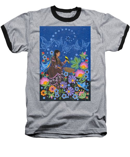Baseball T-Shirt featuring the painting Hole In The Sky's Daughter by Chholing Taha