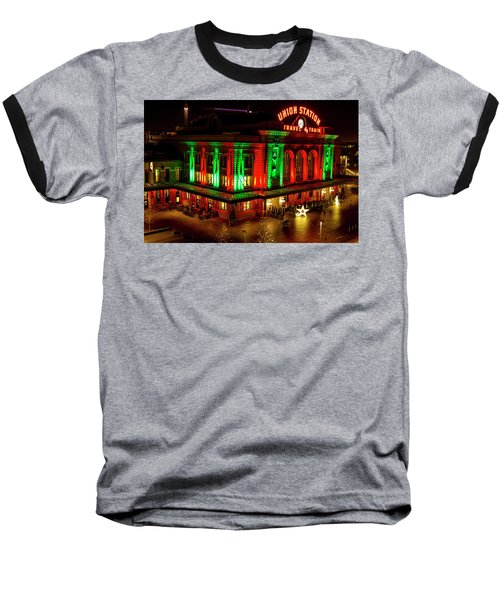 Holiday Lights At Union Station Denver Baseball T-Shirt by Teri Virbickis