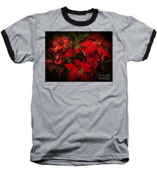 Holiday Painted Poinsettias Baseball T-Shirt