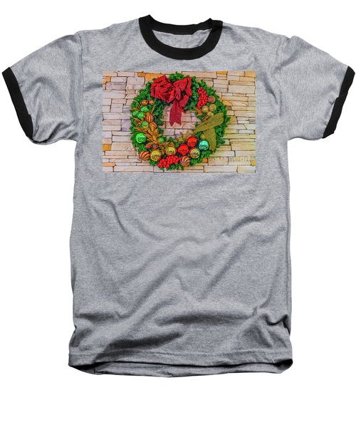 Baseball T-Shirt featuring the digital art Holiday Wreath by Ray Shiu