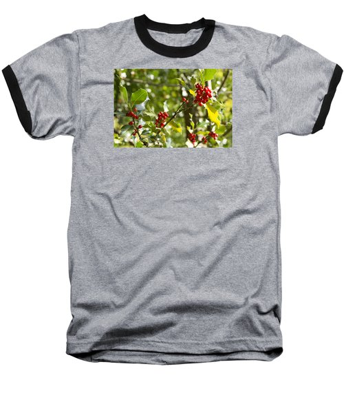 Holly With Berries Baseball T-Shirt by Chevy Fleet