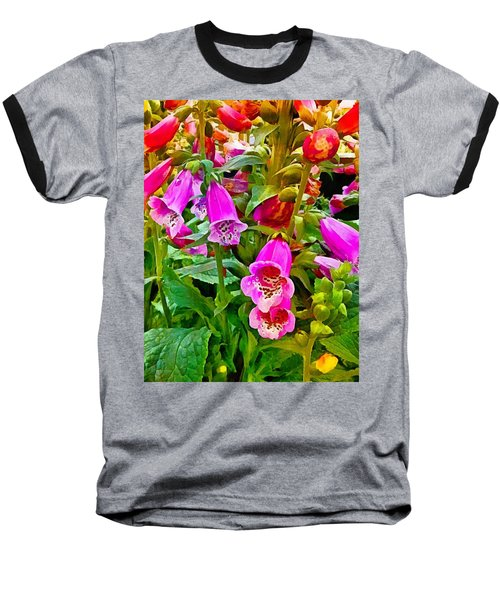 Hollyhock Detail Baseball T-Shirt