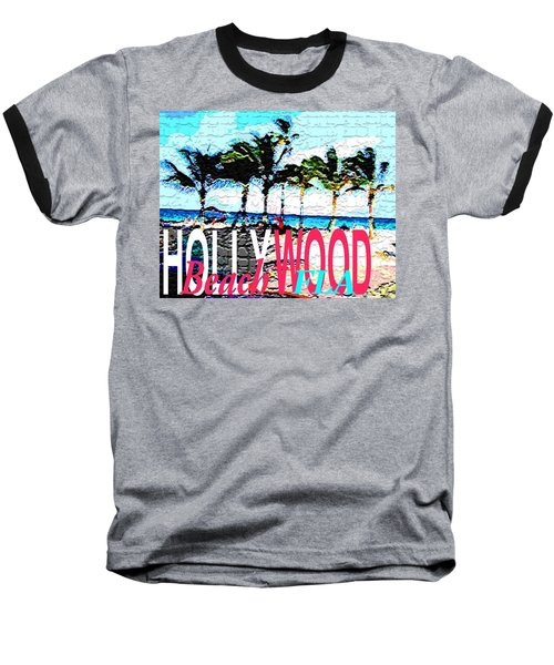 Hollywood Beach Fla Poster Baseball T-Shirt by Dick Sauer