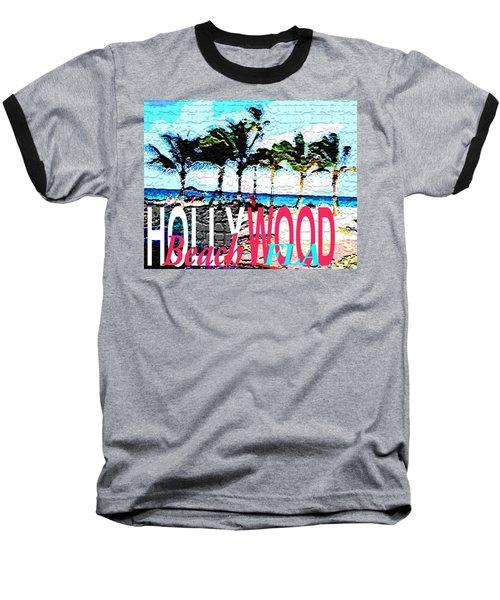 Hollywood Beach Fla Poster Baseball T-Shirt