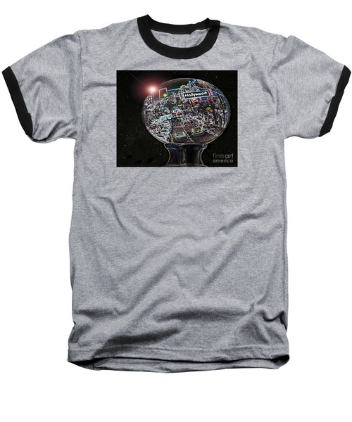 Baseball T-Shirt featuring the photograph Hollywood Dreaming - Oblong Globe by Cheryl Del Toro