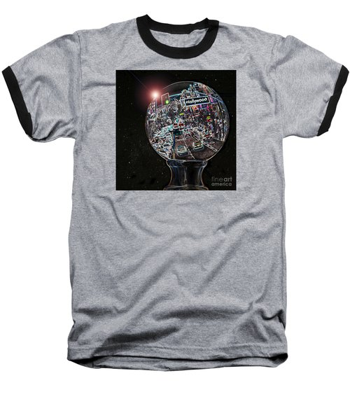 Baseball T-Shirt featuring the photograph Hollywood Dreaming - Square Globe by Cheryl Del Toro
