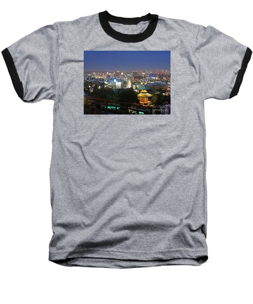 Baseball T-Shirt featuring the photograph Hollywood Hills After Dark by Cheryl Del Toro