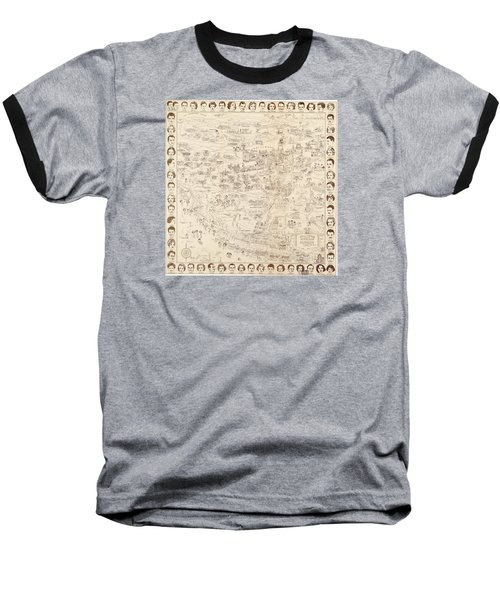 Hollywood Map To The Stars 1937 Baseball T-Shirt by Don Boggs