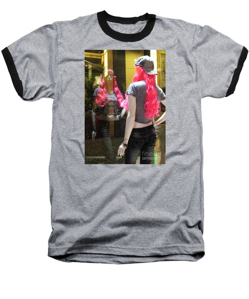 Baseball T-Shirt featuring the photograph Hollywood Pink Hair In Window by Cheryl Del Toro