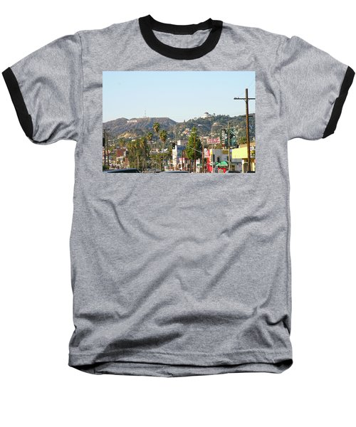 Hollywood Sign Above Sunset Blvd. Baseball T-Shirt