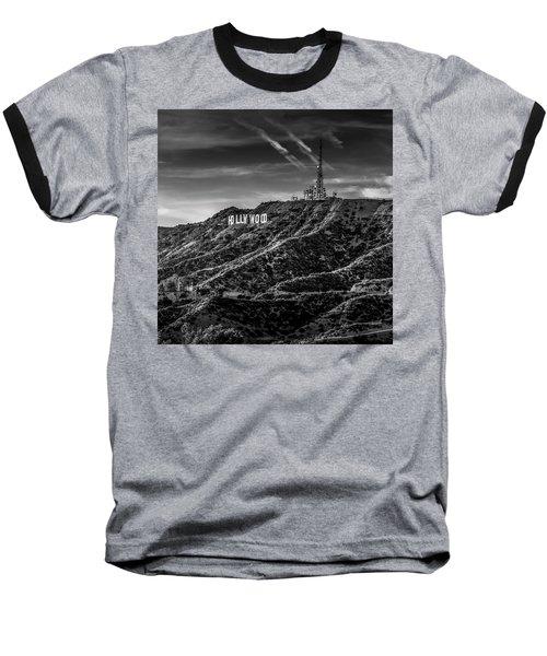 Hollywood Sign - Black And White Baseball T-Shirt