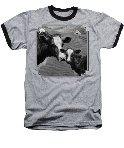 Holstein Cow Farm Black And White Baseball T-Shirt by Crista Forest