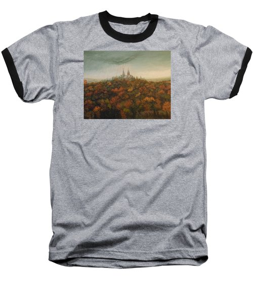 Baseball T-Shirt featuring the painting Holy Hill Rain Storm by Dan Wagner
