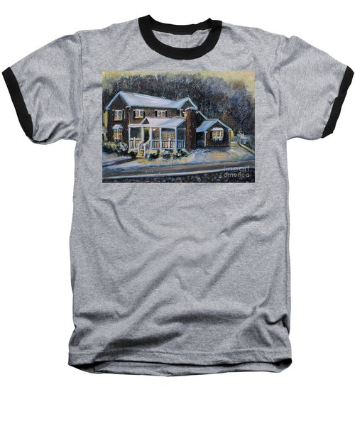Home On A Snowy Eve Baseball T-Shirt by Rita Brown