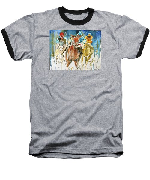 Baseball T-Shirt featuring the painting Home Stretch by P Maure Bausch