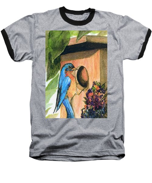 Baseball T-Shirt featuring the painting Home Sweet Home by Gail Kirtz