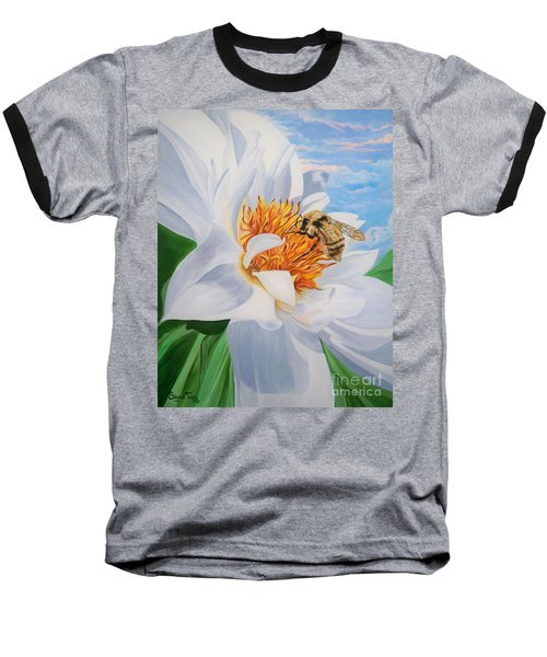 Baseball T-Shirt featuring the painting Honey Bee On White Flower by Sigrid Tune
