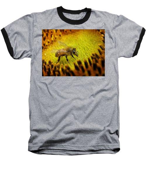 Baseball T-Shirt featuring the photograph Honeybee On Sunflower by Chris Berry