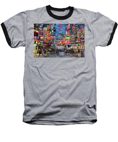 Hong Kong City Nightlife Baseball T-Shirt