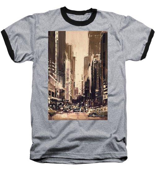 Hong-kong Cityscape Painting Baseball T-Shirt