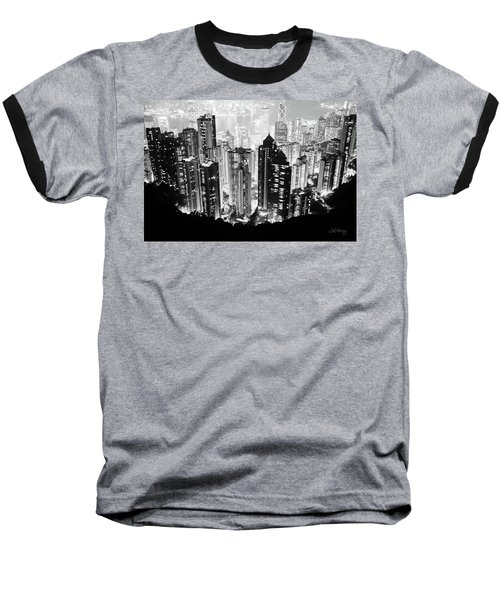 Hong Kong Nightscape Baseball T-Shirt by Joseph Westrupp