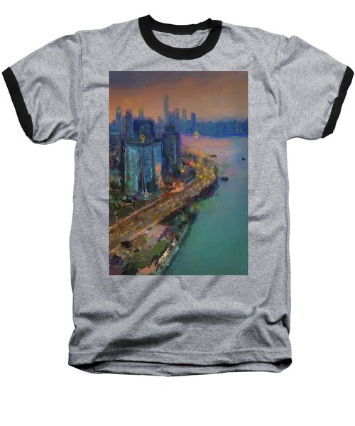 Hong Kong Skyline Painting Baseball T-Shirt