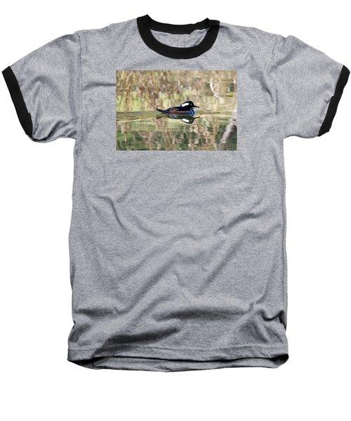 Hooded Merganser Baseball T-Shirt by Elizabeth Budd