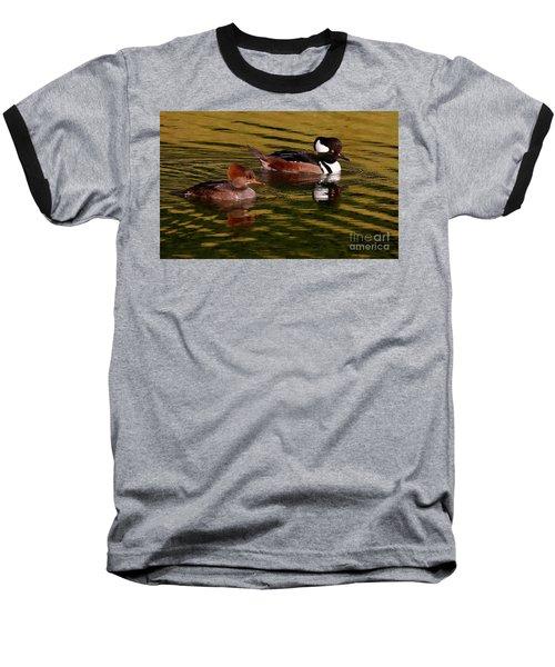 Hooded Merganser Couple Baseball T-Shirt