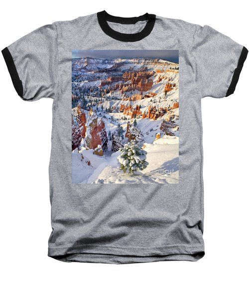 Baseball T-Shirt featuring the photograph Hoodoos And Fir Tree In Winter Bryce Canyon Np Utah by Dave Welling