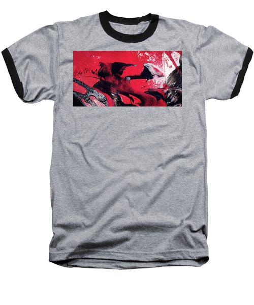 Hope - Red Black And White Abstract Art Painting Baseball T-Shirt