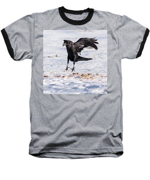 Hopping Mad Raven In The Snow Baseball T-Shirt by John Brink
