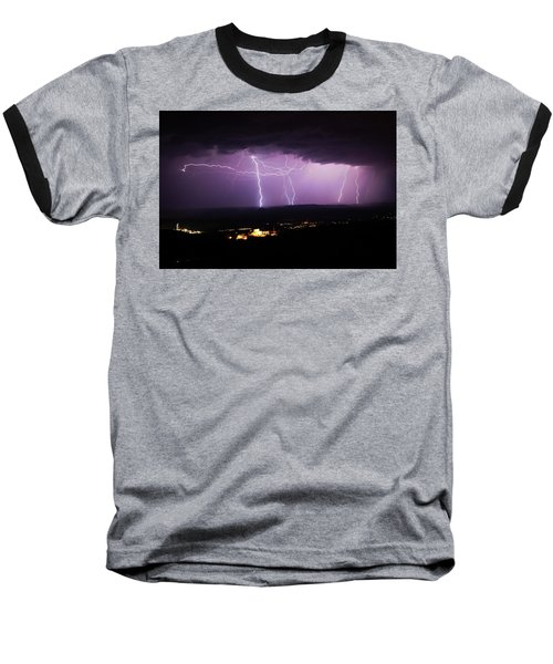 Horizontal And Vertical Lightning Baseball T-Shirt by Ron Chilston