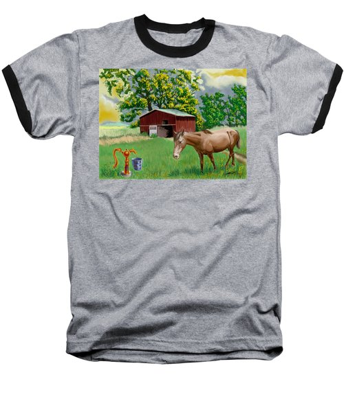 Horse And Barn Baseball T-Shirt