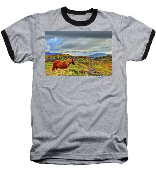 Baseball T-Shirt featuring the photograph Horse And Mountains by Scott Mahon