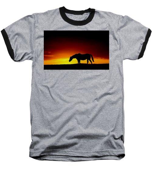 Horse At Sunset Baseball T-Shirt